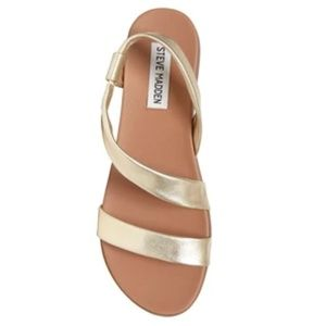 Steve Madden Gold Leather Sandals Dessie Style